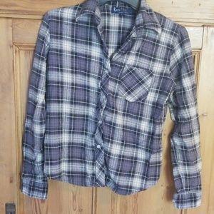 Grey and Blue Plaid Flannel Shirt